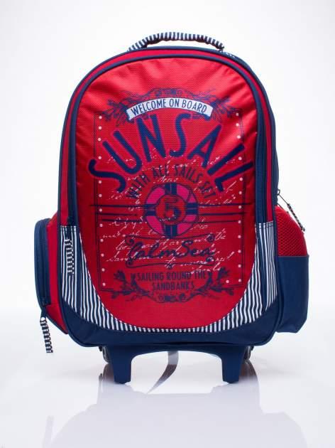 Czerwony plecak szkolny na kółkach walizka DISNEY z motywem żeglarskim                                  zdj.                                  1