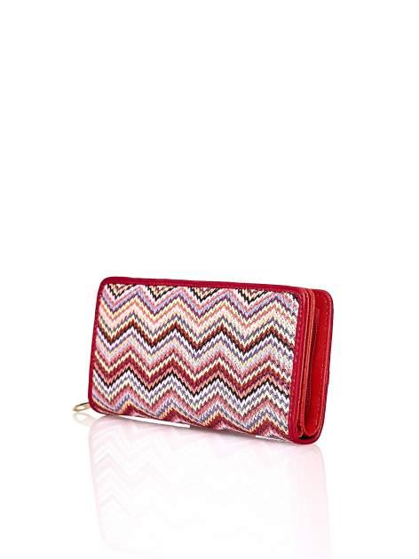 Czerwony pleciony portfel w geometryczne wzory                                  zdj.                                  2