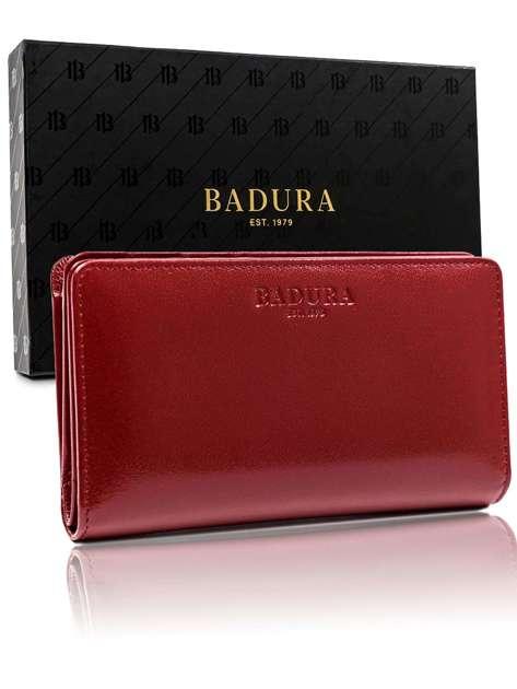 Czerwony portfel męski ze skóry naturalnej BADURA