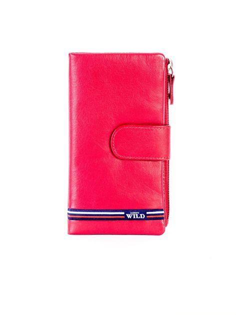 Czerwony portfel skórzany z kieszenią na suwak                              zdj.                              1