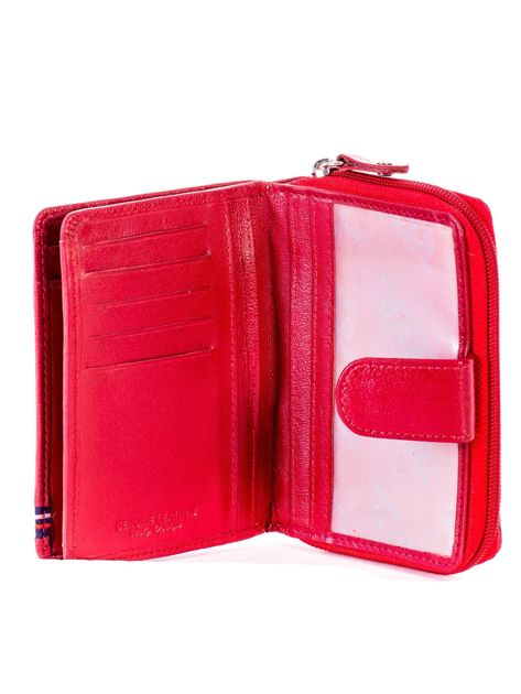 Czerwony portfel skórzany z klapką i zapięciem na suwak                              zdj.                              5