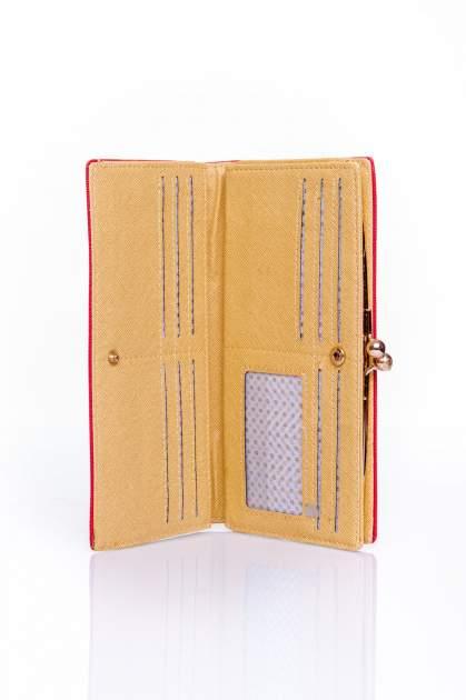 Czerwony portfel z biglem efekt saffiano                                   zdj.                                  3