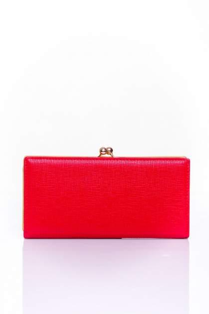 Czerwony portfel z biglem efekt saffiano                                   zdj.                                  1