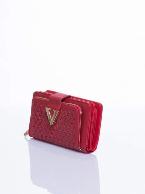 Czerwony portfel ze złotym detalem V                                  zdj.                                  2