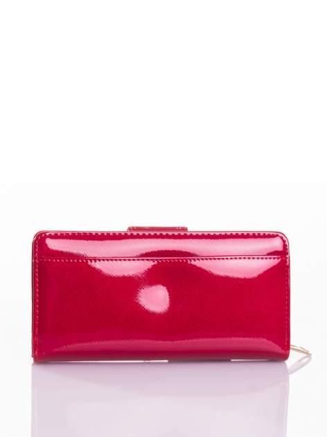 Czerwony portfel ze złotym zapięciem efekt skóry saffiano                                  zdj.                                  3