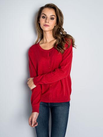 Czerwony rozpinany sweter z bawełny                                  zdj.                                  2