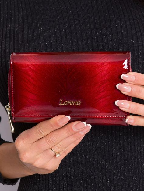 Czerwony skórzany portfel damski
