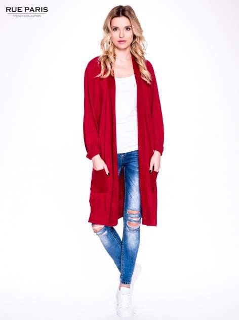 Czerwony sweter długi kardigan z kieszeniami                                  zdj.                                  1