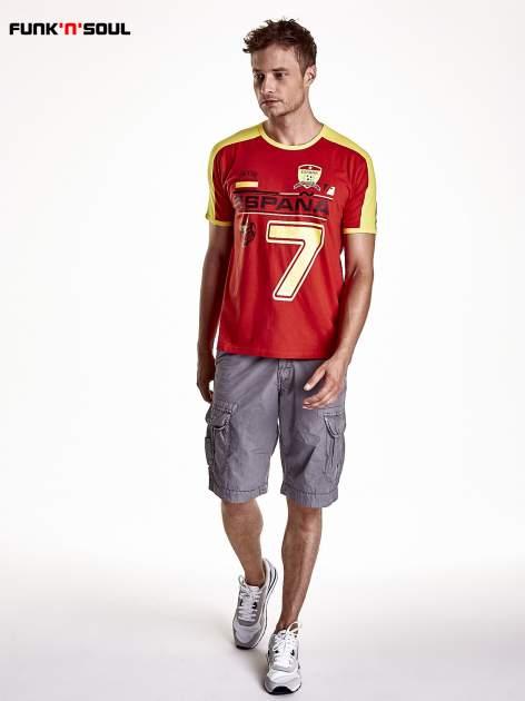 Czerwony t-shirt męski z napisem ESPANA Funk n Soul                                  zdj.                                  4