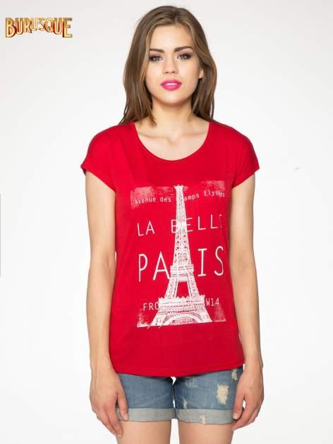 Czerwony t-shirt z motywem Paryża                                  zdj.                                  11