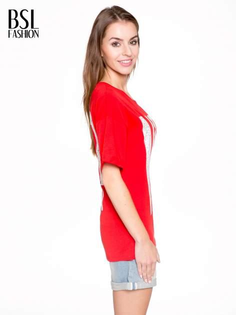 Czerwony t-shirt z nadukiem WHY? z przodu i na plecach                                  zdj.                                  3