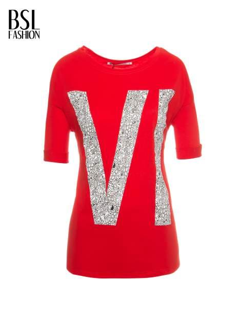 Czerwony t-shirt z nadukiem WIBE z przodu i na plecach                                  zdj.                                  2