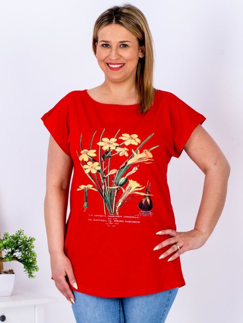 Czerwony t-shirt z żonkilami PLUS SIZE                              zdj.                              1