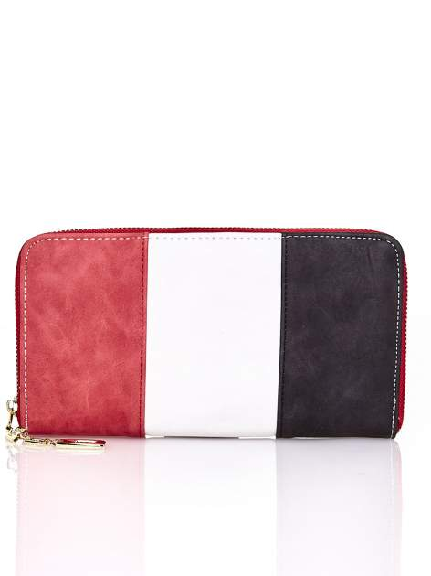 Czerwony trójkolorowy portfel z uchwytem