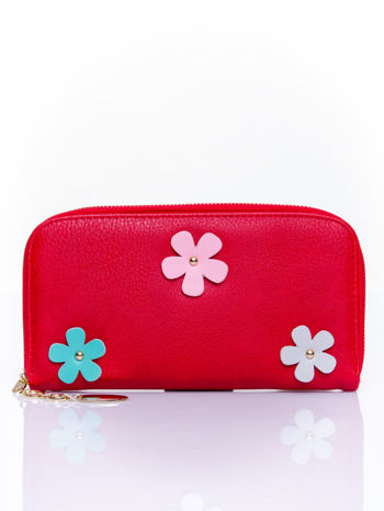 Czerwony zasuwany portfel w kwiatki