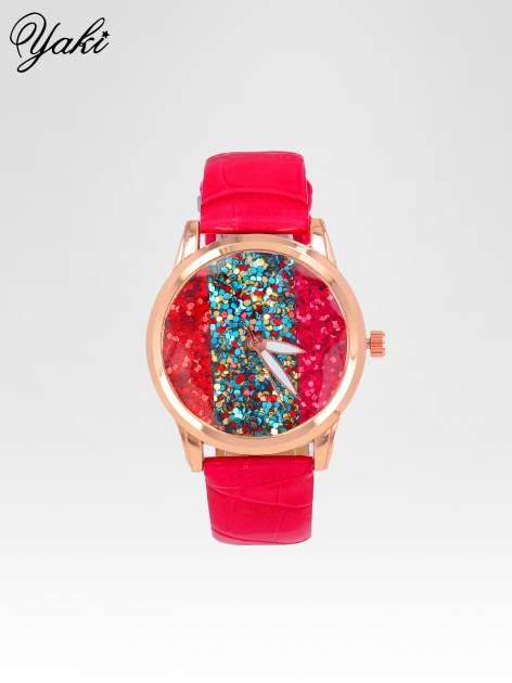 Czerwony zegarek damski na pasku z tarczą glitter