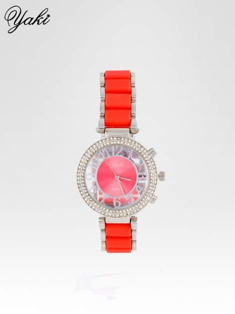 Czerwony zegarek na bransolecie z cyrkoniami na tarczy                                  zdj.                                  1