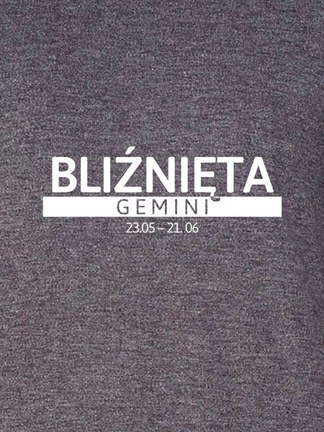 Damska bluza ze znakiem zodiaku BLIŹNIĘTA ciemnoszara                              zdj.                              2