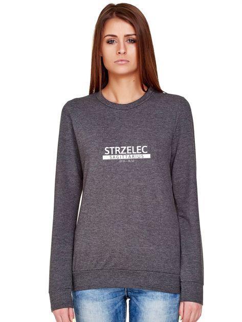 Damska bluza ze znakiem zodiaku STRZELEC ciemnoszara                              zdj.                              1
