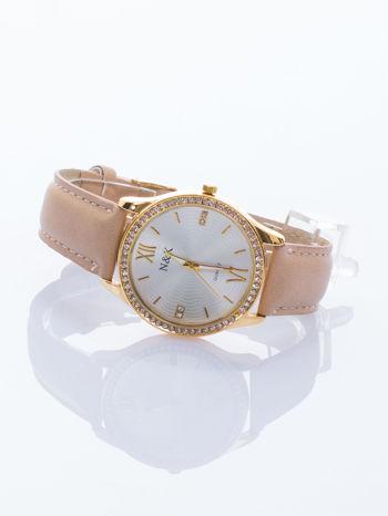 Damski zegarek. Klasyczny, ale nie ma nudy - za to są cyrkonie.                                  zdj.                                  2