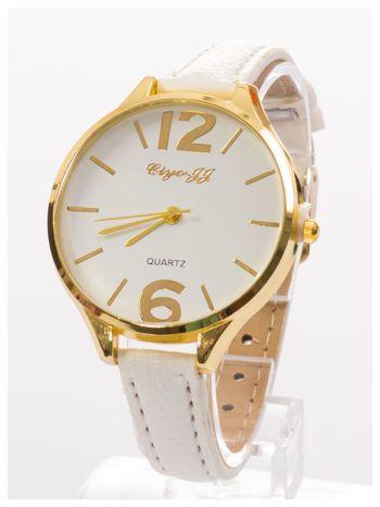 Damski zegarek fashion na białym wąskim skórzanym pasku                                  zdj.                                  2