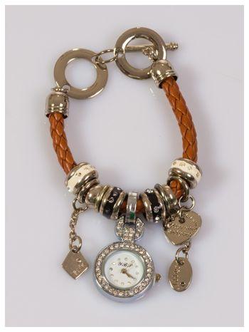 Damski zegarek na skórzanej bransolecie ozdobionej koralikami pandory                                  zdj.                                  1