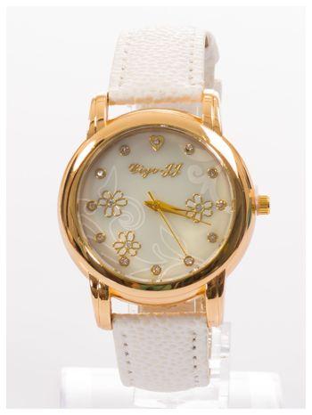 Damski zegarek z cyrkoniami i zdobieniami na perłowej tarczy                                  zdj.                                  1