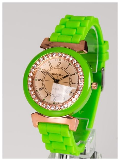 Damski zegarek z cyrkoniami na kopercie. Wygodny silikonowy pasek