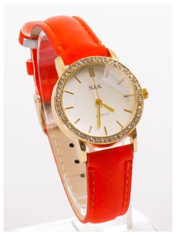 Damski zegarek z cyrkoniami, na welurowym pasku. Klasyczny z nutką elegancji.Poczuj się wyjątkowo!                                  zdj.                                  3