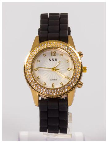 Damski zegarek z cyrkoniami na wygodnym silikonowym pasku