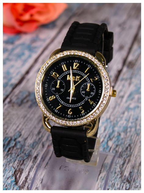 Damski zegarek z cyrkoniami oraz ozdobnym chronografem na dużej tarczy. Wygodny silikonowy pasek.                                  zdj.                                  2