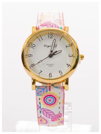 Damski zegarek z motywem kwiatowym na pasku                                  zdj.                                  1