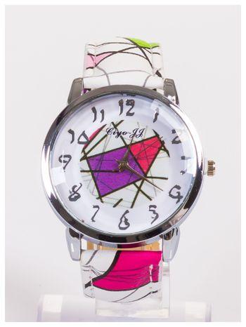 Damski zegarek z ozdobnym motywem geometrycznym na pasku oraz dużej tarczy                                  zdj.                                  1