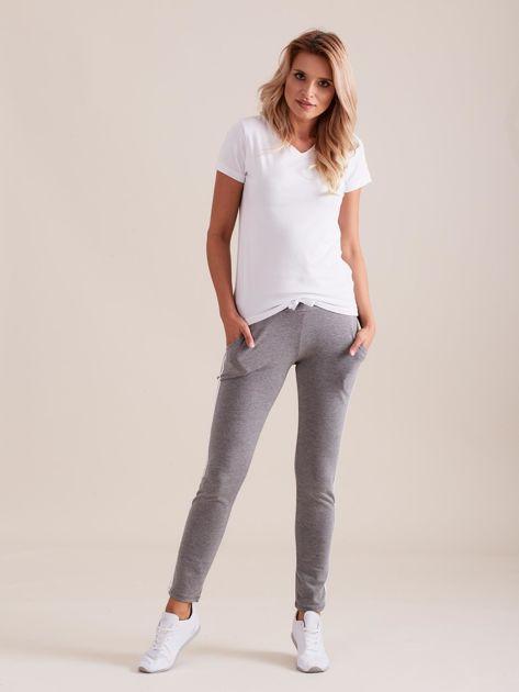 Damskie spodnie dresowe z lampasem szare                               zdj.                              4