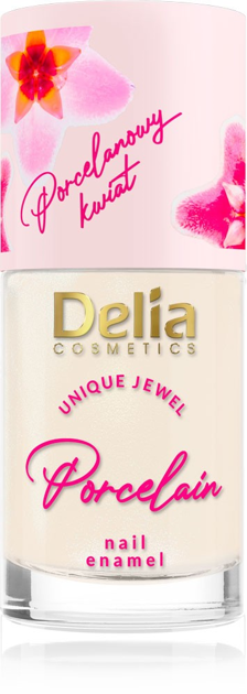 """Delia Cosmetics Porcelain Lakier do paznokci 2w1 z kwiatem porcelany nr 3 łososiowy 11ml"""""""