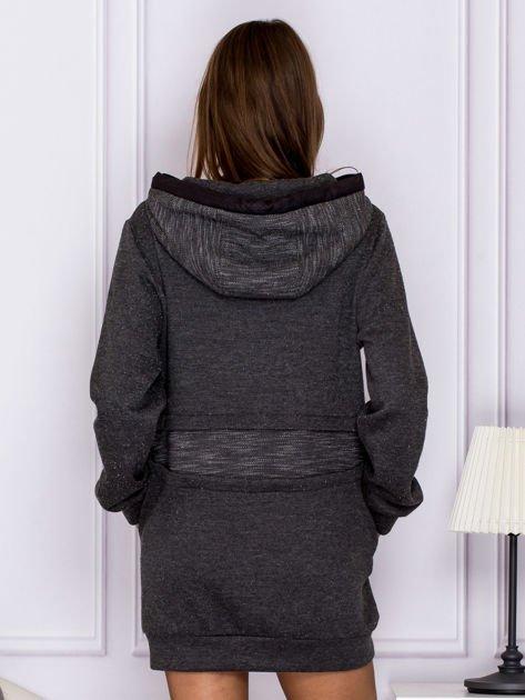 Długa melanżowa bluza z kapturem ciemnoszara                                  zdj.                                  2