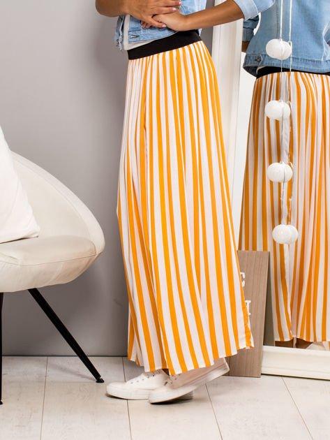 Długa spódnica maxi w paski pomarańczowa                                  zdj.                                  2