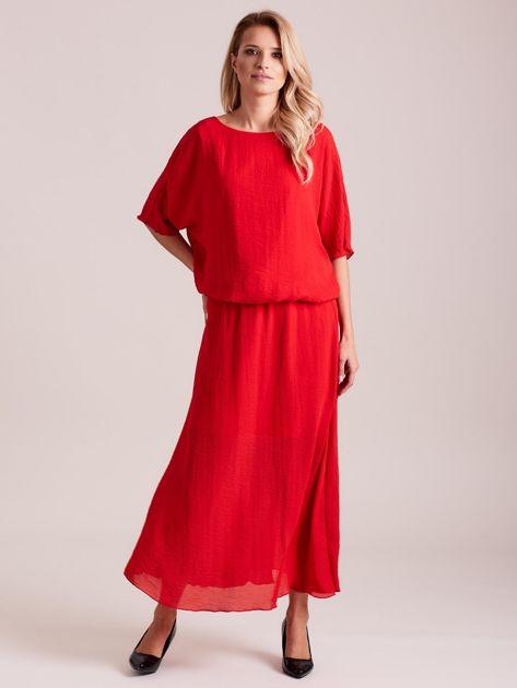 Długa zwiewna sukienka czerwona                              zdj.                              4