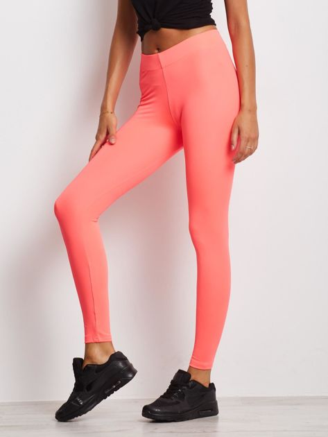 Długie fluo różowe legginsy fitness o średniej grubości                                zdj.                              3