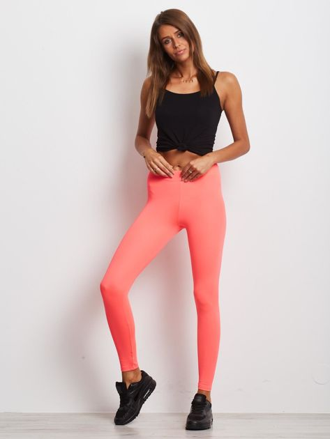 Długie fluo różowe legginsy fitness o średniej grubości                                zdj.                              4