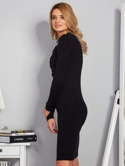 Dopasowana sukienka z chokerem i wiązaniem czarna                              zdj.                              5