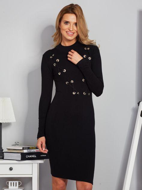 Dopasowana sukienka z dekoltem lace up czarna                                  zdj.                                  1