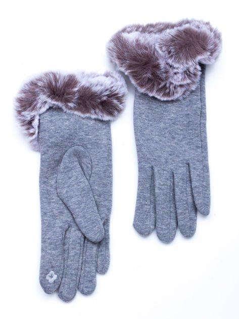 Dotykowe szare rękawiczki damskie z ozdobnym puszystym mankietem