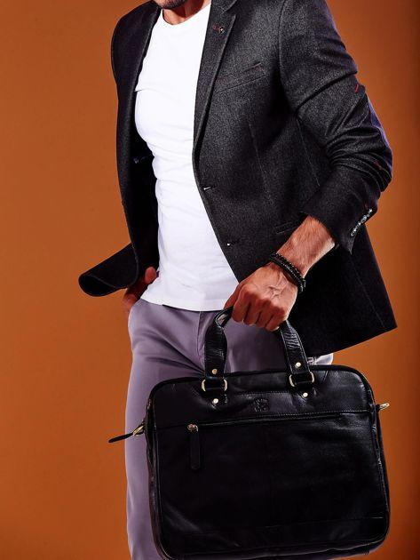 Dwukomorowa skórzana torba męska na ramię czarna                              zdj.                              8