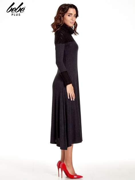 Dzianinowa sukienka maxi z warkoczowym golfem                                  zdj.                                  3