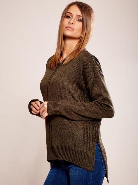 Dzianinowy sweter khaki                              zdj.                              3