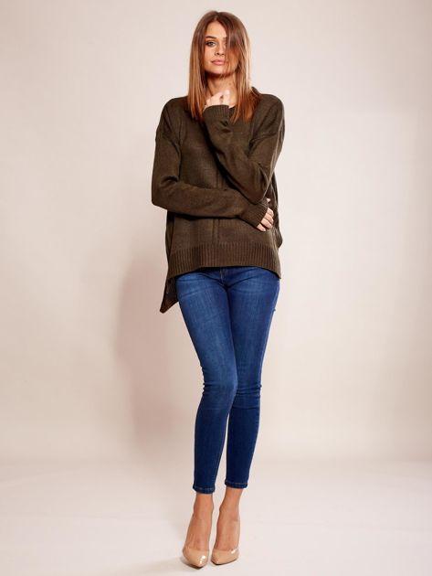 Dzianinowy sweter khaki                              zdj.                              4