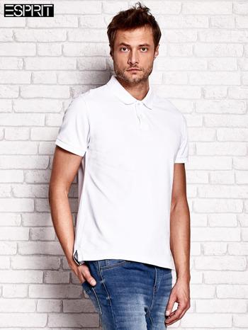 ESPRIT Biała gładka koszulka polo męska                                  zdj.                                  2