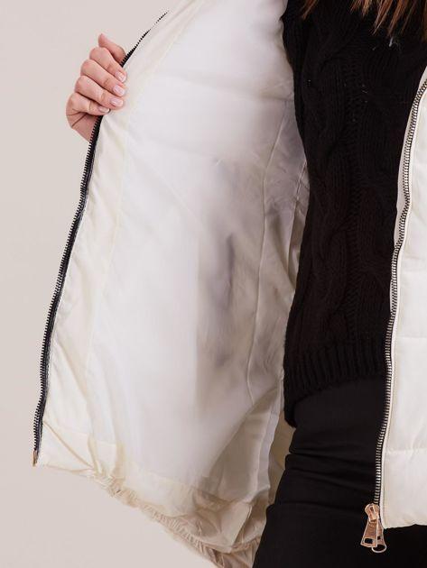 Ecru asymetryczna kurtka zimowa                              zdj.                              9