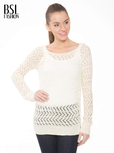 Ecru ażurowy dłuższy sweter